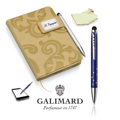 Set bloc-notes GRACE beige/stylo à bille touch STAR de GALIMARD - GA 174